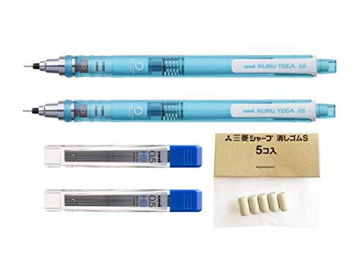 Uni-Ball Kuru Toga - Matita meccanica ad affilatura automatica, con punta da 0,5mm, confezione da 2 pezzi con 24 mine e 5 gommini inclusi in dotazione, colore del fusto: blu e verde