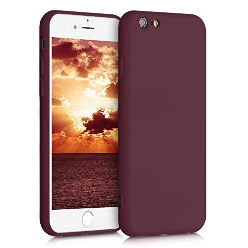 kwmobile Funda Compatible con Apple iPhone 6 / 6S - Carcasa de Silicona TPU para móvil - Cover Trasero en Rojo Vino