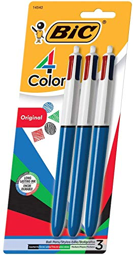 Price comparison product image BIC 4-Color Ballpoint Pen,  Medium Point (1.0mm),  Assorted Inks,  3-Count - 1 Pack