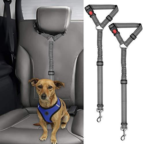 BWOGUE 2 Packs Dog Cat Safety Seat Belt Strap Car Headrest Restraint Adjustable Nylon Fabric Reflective Elastic Bungee Connect Dog Restraints Vehicle Seatbelts Harness
