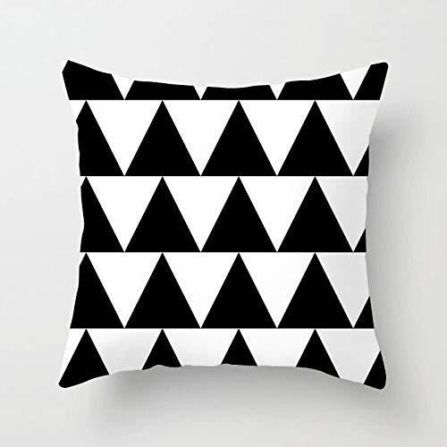 PPMP Funda de cojín Negra con Letras geométricas Impresas Funda de para sofá Dormitorio decoración del hogar Funda de cojín Funda de A10 45x45cm