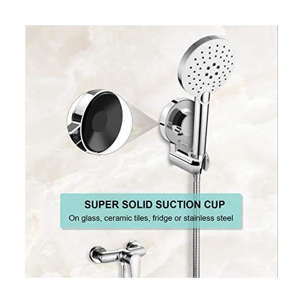 Myguru – Soporte de ducha con ventosa, soporte para alcachofa de ducha, fijo, para pared, sin perforación, gran…