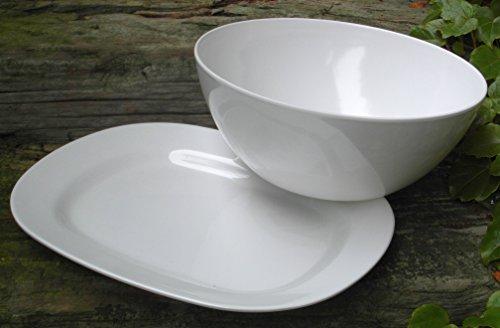 Melaminset Fleischplatte 31x25x3 +Salatschüssel 3 Liter Rein- Weiß