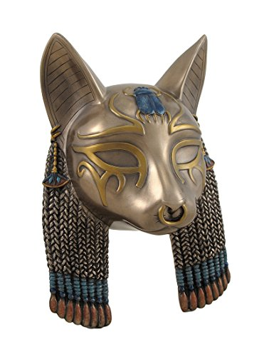 Veronese Design Ägyptische Göttin Bastet Katze Kopf Maske bronziert Wandbehang