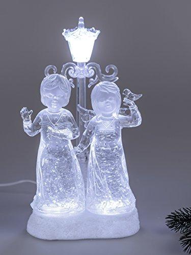 Formano Engel Paar mit Laterne Dekofigur Weihnachtsdeko mit Licht und Wasser 30 cm Acryl-Figuren mit Beleuchtung