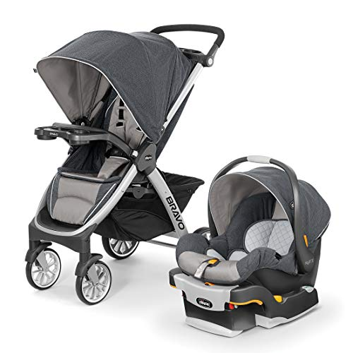 Chicco Bravo Trio Travel System with Full Size Stroller, Convertible Frame Stroller, One-Hand...