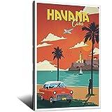 Póster vintage de Cuba de la costa de La Habana - Lienzo decorativo para pared, dormitorio moderno, oficina familiar, carteles decorativos para regalo