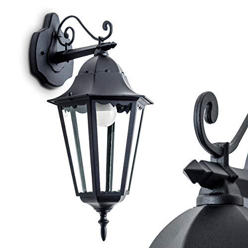 Außenwandleuchte Hongkong, Wandlampe abwärts in antikem Look, Aluguß in Schwarz matt m. Klarglas-Scheiben, Wandleuchte m. E27-Fassung, max. 100 Watt, Retro/Vintage Außenleuchte für Terrasse u. Hof