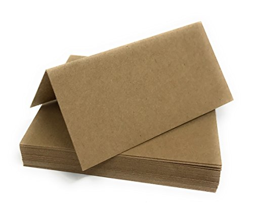 100 Recycled Blank Table Name Place Cards, Recycled Kraft Ideal for Parties Or Weddings from Pocketfold Invites LTD