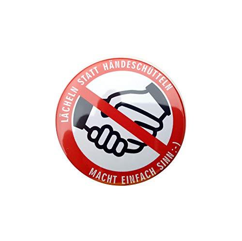 KOKA Button 10 Stück LÄCHELN STATT HÄNDESCHÜTTELN - NO HANDSHAKE - Anstecknadel Corona-Infektionsschutz-Hinweis