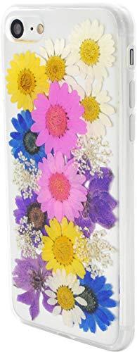 Apple iPhone8 iPhone7 スマホケース 花柄 フラワー 四葉 ハーバリウム風 本物の花びら 押し花 TPU ソフトケース スマホカバー アップル アイフォン (01マルチ)