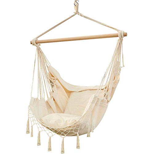 Macrame Hanging Chair, Hanging Hammock Chair Swing Seat with 2 Cushions for Outdoor Indoor Bedroom Backyard Beach Camping, Soft & Durable Cotton Hanging Swing