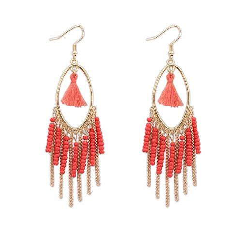 Fletion donne ragazze Retro Boho orecchini etnici nappa Orecchini lunghi orecchini di stile Boemia ciondoli gioielli