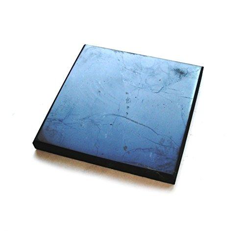 Karelian Heritage Schungit-Fliese, dekorative Mineral-Fliese, 10 x 10 cm, poliert, SP08