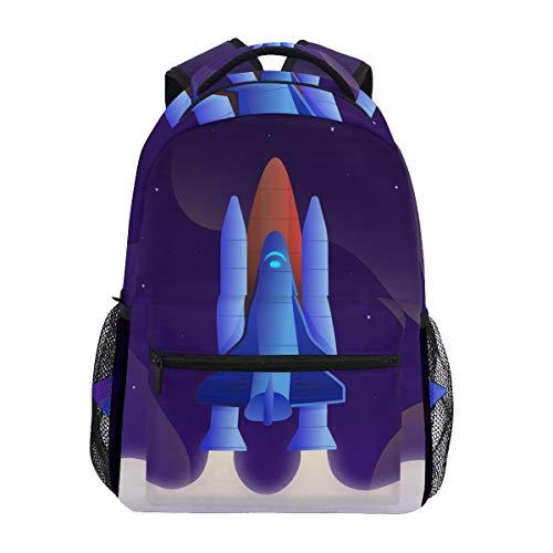 Cartoon Blaue Rakete Studentenrucksack Kinderrucksack Büchertasche Schülerrucksack mit Laptop Rucksäcke für die Reise Teen Mädchen Jungs