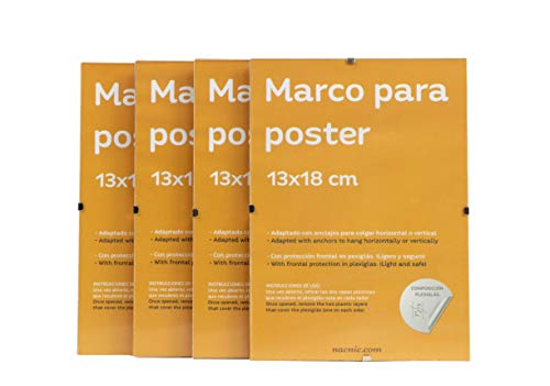 Nacnic Set 4 Marcos Transparentes de Clip Soportes Transparentes para Fotos, Posters, Diplomas, Dibujos o láminas. Tamaño 13x18cm. Marcos Clip Transparentes con plexiglas y Anclajes para Colga
