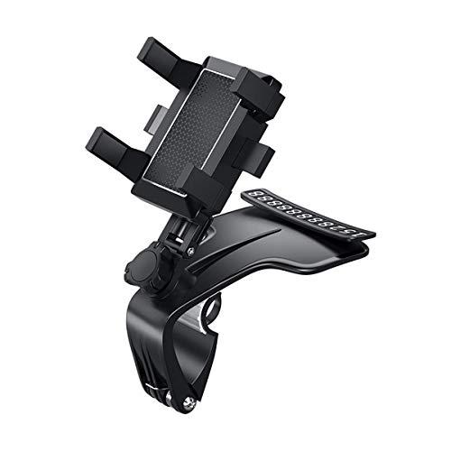 USNASLM Coche multifuncional soporte de teléfono móvil 360 grados Sun Visor espejo Dashboard Mount GPS soporte teléfono titular con tarjeta de estacionamiento