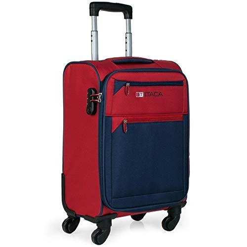 ITACA - Maleta de Viaje Cabina 4 Ruedas Trolley 54 cm Poliéster EVA. Equipaje de Mano. Blanda, Resistente y Ligera. Mango Asas Candado. Low Cost Ryanair. 701050, Color Rojo-Azul Marino