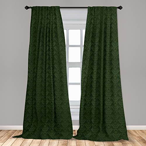 """Lunarable Hunter Green Curtains, Victorian Damask Rococo Renaissance Swirled Classic Floral Petals Pattern, Window Treatments 2 Panel Set for Living Room Bedroom Decor, 56"""" x 63"""", Green"""