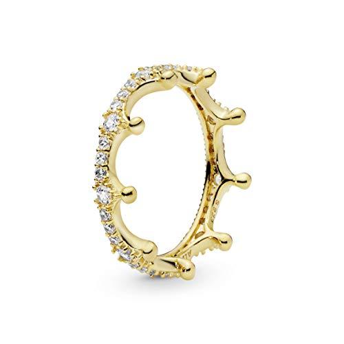 Pandora anillo De las mujeres Plata 925 / - pulido brillante, chapado en oro amarillo 18k circón 168654C01-56