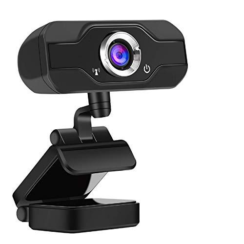 Webcam Full HD 1080P con Microfono, Widescreen 90 gradi USB fotocamera, Desktop Laptop Live Streaming Webcam per Giochi, Video conferenze, Online Lavoro, Video Chiamate (Supporto G1)