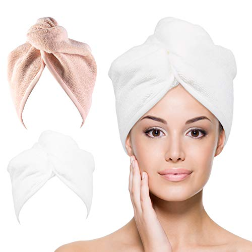YoulerTex Microfiber Hair Towel Wrap for Women, 2 Pack 10 inch X 26 inch, Super Absorbent Quick Dry Hair Turban for Drying Curly, Long & Thick Hair (Peachy Beige+White)