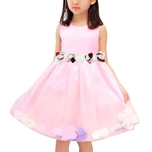 FakeFace Liyinguk Robe de Mariage Petite Princesse Tulle Décor Ceinture de Rose en Satin Sans Manches Robe de Demoiselle d'Honneur Robe de Soirée/Cérémonie/Bal