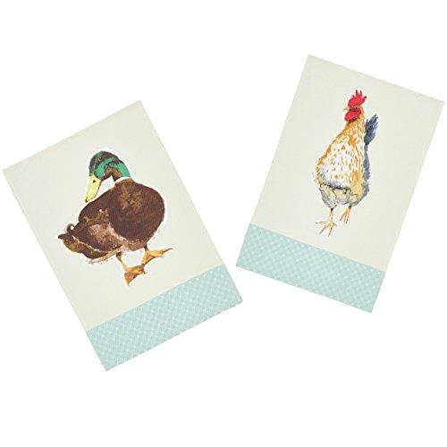 Kitchencraft animales de granja de 100% impreso pájaro té Toallas, 70x 47cm (Juego de 2), algodón, crema/verde, 46x 0,1x 69,5cm