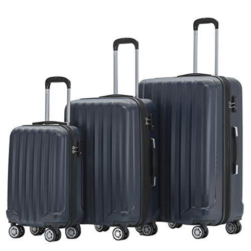 BEIBYE TSA-Schloß 2080 Zwillingsrollen 3 TLG. Reisekofferset Koffer Kofferset Trolley Trolleys Hartschale (Dunkelblau)