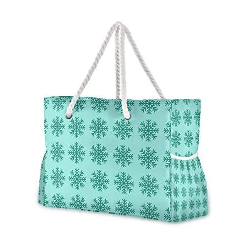 Montoj - Bolsa de playa, diseño de copo de nieve, color verde