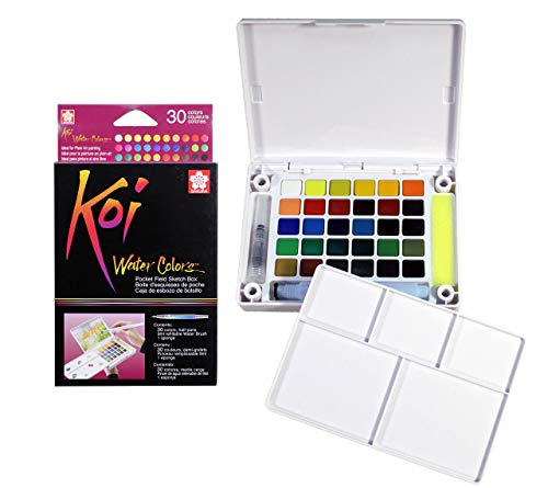 Sakura 24-Colors/set Assorted Watercolors Field Sketch Set with Brush
