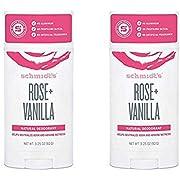 Schmidt's Rose + Vanilla Natural Deodorant Stick 3.25 Ounce (Pack of 2)