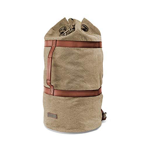 DRAKENSBERG Kimberley Duffel Bag, sacco da marinaio, zaino, borsa da viaggio, tela, canvas, pelle, vintage, lussuosamente, sabbia, marrone