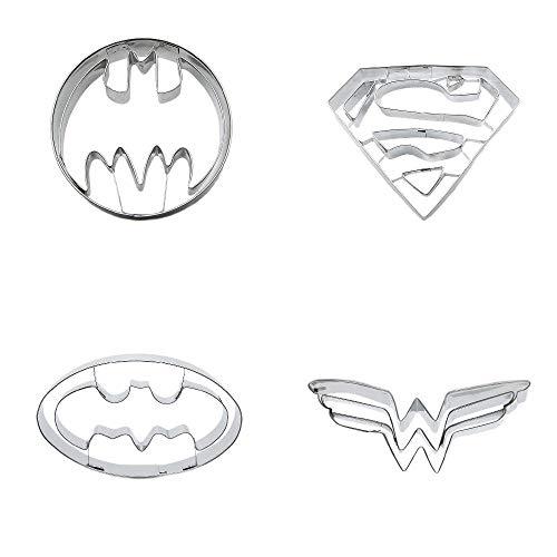 Ausstechformen aus Metall, Motiv: Batman, Vampir, Fledermaus, Superman, Kekse, Gebäck, Fondant, Lebkuchen-Kuchenform, 4 Stück