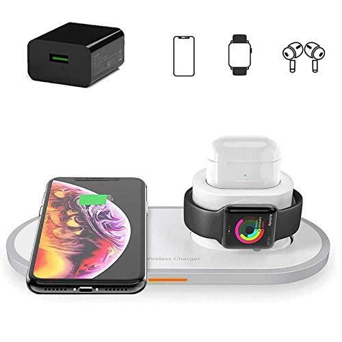 Xflelectronic Cargador inalámbrico 3 en 1 Estación de Carga de Base de Carga inalámbrica rápida, para Apple Watch/Airpods/iPhone 12/12 Pro MAX / 11/11 Pro/X/XS MAX/XR/Samsung Galaxy S20 / S10