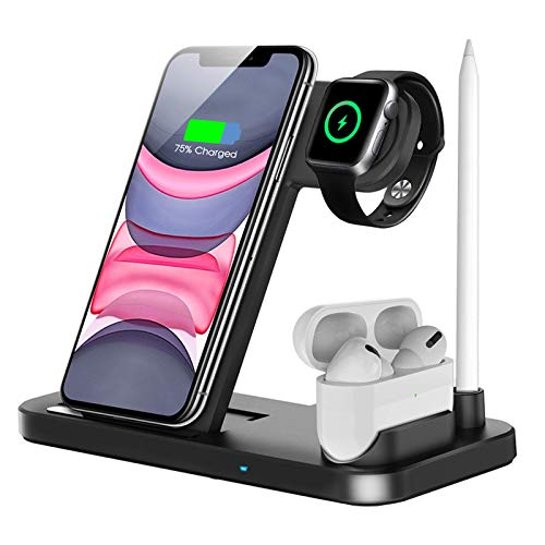 Wireless Charger, 4 in 1 Qi-Certified Fast Charging Station Compatible Apple Watch Airpods Pro iPhone 11 11pro X XS XR Xs Max 8 8 Plus, Wireless Charging Stand Compatible Samsung Galaxy S20 S10
