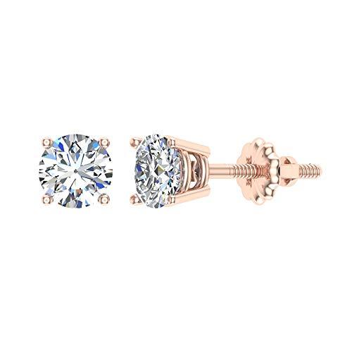 Pendientes de diamantes para mujeres-hombres-niñas de talla redonda con tachuelas de oro rosa de 14 quilates de 0,38 ct t.w. Caja de regalo Tarjetas de autenticidad (G, I1)