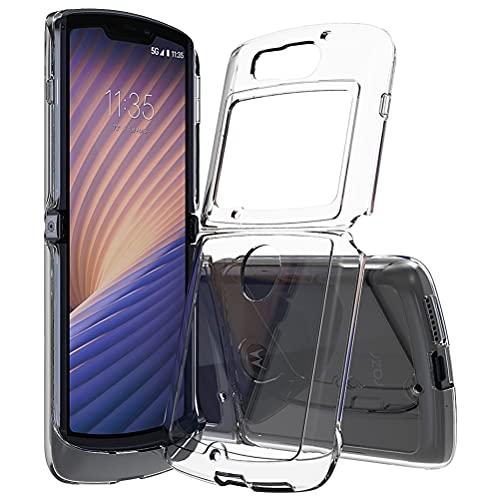 Acryl durchsichtige Harte klare Handyhülle für Motorola Razr 2/Razr 5G Hybrid Cover Anti-Gelb Verschleißfeste robuste Handyschale Stoßfest Stoßfänger dünne Vollschutzhülle für Moto Razr 5G