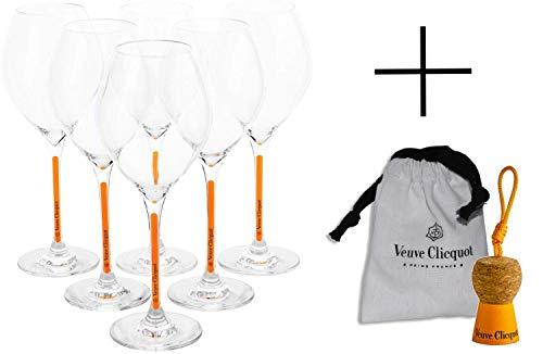Veuve Clicquot Champagner Gläser Prestige Box Set Yellow Glas (6 Stück) + Schlüsselanhänger