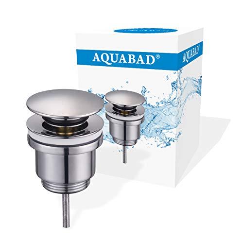 AQUABAD Click Clack CC32 Ablaufgarnitur| Farbe: CHROM | für Waschbecken | Kompaktschaft | Deckelform Rund + Ersatz Dichtring