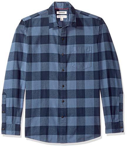 Amazon-Marke: Goodthreads, Herrenhemd, langärmlig, normale Passform, gebürstetes Flanell, Blau (Denim Buffalo Den), US S (EU S)