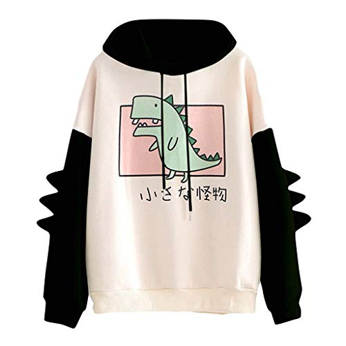 Dosoop Women Winter Warm Hoodie Coat Cute Dinosaur Print Long Sleeve Splice Sweater Plush Zip Up Jacket Outerwear Blouse