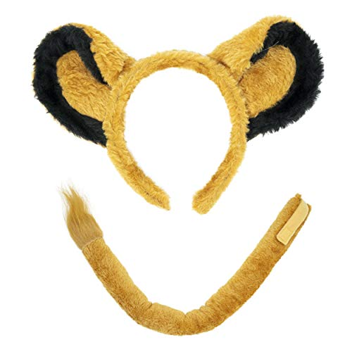 Lion Headband Ears and Tail Costume Accessory Set - Fits Adults and Kids