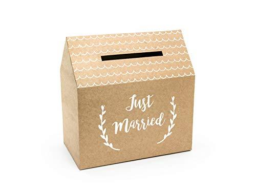 Party Deco Gastgeschenk, Hochzeitsbox - Just Married - 30 x 30,5 x 16,5 cm - Geschenkbox, Geldbox, Kartenbox, Geschenkkartenbox für Hochzeitsempfänge - Kraft