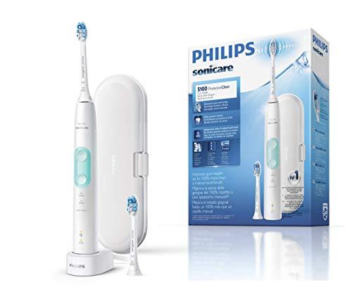Philips Sonicare ProtectiveClean HX6857/17 - Cepillo de dientes eléctrico con sensor de presión, tecnología BrushSync, 3 modos de limpieza con 2 cabezales y estuche de viaje, color blanco