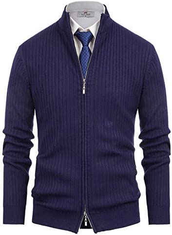 Men s Shawl Collar Cardigan Double Zipper Sweater Navy Blue M product image