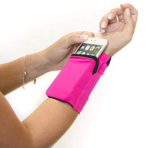 Iwinna Stretchy Wrist Wallet Wristband with Zipper Stretchy Sport Running Gym Wrist Pocket Pouch Sweatband Wrist Bag Holder for Mobile Phone, Cards