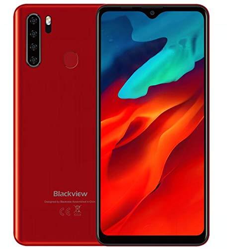 Blackview A80 Pro Teléfono Móvil Libres 4G, Pantalla HD + de 6.49'', Helio P25 4GB + 64GB, Cuatro Cámaras Traseras, Batería 4680mAh, Grosor de 8.8 mm, Smartphone Android 9.0 Dual SIM, GPS Rojo