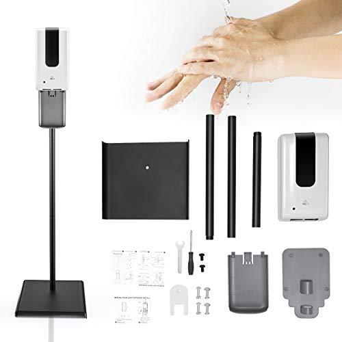 TTLIFE Soporte dispensador de jabón, dispensador de jabón 1200ML y Kit de estación de Soporte de Piso de Acero Inoxidable,dispensador de jabón con Sensor sin Contacto para Restaurante, Hotel,E