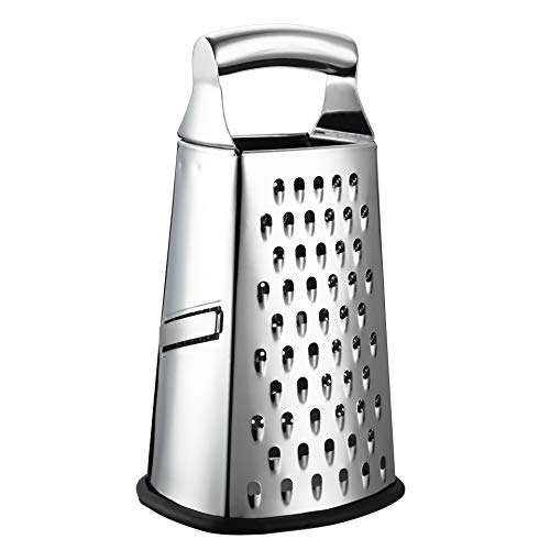 in budget affordable Spring-loaded cooking grater, parmesan cheese, ginger and other four-sided large 10-inch stainless steel grater